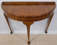 Queen Anne Style Walnut Bowfront Console Table